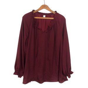 Red/Wine Satin Tie-Neck Top from Old Navy